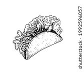 hand drawn mexican tacos.... | Shutterstock .eps vector #1992596057