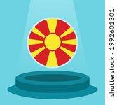 flag of macedonia on the podium.... | Shutterstock .eps vector #1992601301