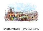 building view with landmark of... | Shutterstock .eps vector #1992618347