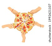 hands take slices of hot pizza... | Shutterstock .eps vector #1992621107