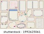 set blank paper notes. vector... | Shutterstock .eps vector #1992625061