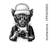 cat photographer dressed in the ... | Shutterstock .eps vector #1992634601