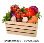 various vegetables in a wooden... | Shutterstock . vector #199263821