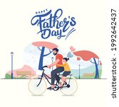happy father  son  daughter... | Shutterstock .eps vector #1992642437