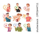 young men and women holding... | Shutterstock .eps vector #1992644711
