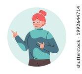 smiling female pointing fingers ... | Shutterstock .eps vector #1992644714