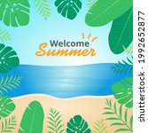 summer beach with floral frame... | Shutterstock .eps vector #1992652877