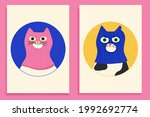 funny cats wearing colourful...   Shutterstock .eps vector #1992692774