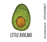 cute hand drown little avocado. ... | Shutterstock .eps vector #1992698807