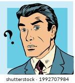 illustration of man asking... | Shutterstock .eps vector #1992707984