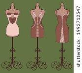 vector set of vintage... | Shutterstock .eps vector #1992712547