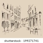 streets in paris  france ... | Shutterstock .eps vector #199271741