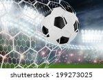 soccer ball in goal net with... | Shutterstock . vector #199273025