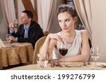 single woman drinking wine in a ... | Shutterstock . vector #199276799