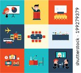 conference icons vector... | Shutterstock .eps vector #199279379