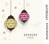 stylish hanging arabic lanterns ... | Shutterstock .eps vector #199280159
