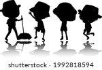 set of kids silhouette cartoon... | Shutterstock .eps vector #1992818594