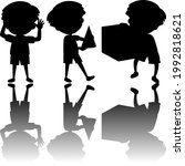 set of kids silhouette with... | Shutterstock .eps vector #1992818621