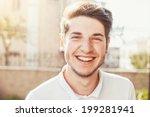 handsome man outdoors portrait. ... | Shutterstock . vector #199281941