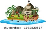 pirate ship on island with many ... | Shutterstock .eps vector #1992820517