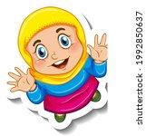 sticker template with a muslim... | Shutterstock .eps vector #1992850637