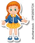 sticker template with a girl in ... | Shutterstock .eps vector #1992850724