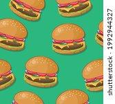 realistic burger  hamburger ... | Shutterstock .eps vector #1992944327
