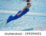 underwater woman portrait with... | Shutterstock . vector #199294451