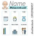 baby birth print. baby data... | Shutterstock .eps vector #1992998957