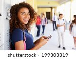 female high school student by... | Shutterstock . vector #199303319