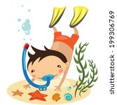 illustration boy dives | Shutterstock .eps vector #199306769