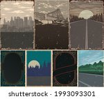 vintage posters collection with ...   Shutterstock .eps vector #1993093301