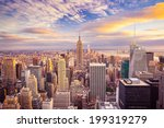 sunset aerial view of new york... | Shutterstock . vector #199319279