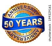 50 years anniversary golden... | Shutterstock .eps vector #199329161
