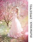 beautiful girl in the peach... | Shutterstock . vector #199337951