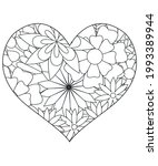 heart with floral pattern.... | Shutterstock .eps vector #1993389944