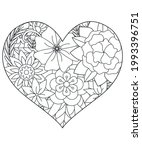 heart with floral pattern.... | Shutterstock .eps vector #1993396751