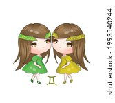 twin chibi gemini girls vector...   Shutterstock .eps vector #1993540244