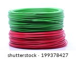 colorful cable on white... | Shutterstock . vector #199378427