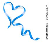 Heart Made Of Blue Ribbon On...