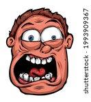 cartoon male face screaming in... | Shutterstock .eps vector #1993909367