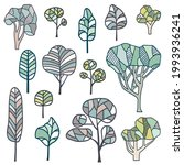 abstract artistic trees set.... | Shutterstock .eps vector #1993936241