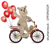 the bear on a bike with balloons | Shutterstock .eps vector #199396529