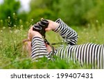 young child using a pair of... | Shutterstock . vector #199407431