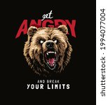 angry slogan with angry bear... | Shutterstock .eps vector #1994077004