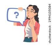 thoughtful girl holding speech... | Shutterstock .eps vector #1994105084