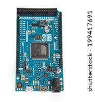 Small photo of LJUBLJANA, SLOVENIA - JUNE 18, 2014: Photo of Arduino Due microcontroller board based on the Atmel ARM Cortex-M3 CPU. It is the first Arduino board based on a 32-bit ARM core microcontroller.