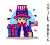 cute man holding american flag... | Shutterstock .eps vector #1994227001