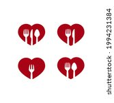 a set of red hearts and cutlery ... | Shutterstock .eps vector #1994231384