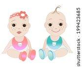 baby girl  baby boy vector | Shutterstock .eps vector #199423685